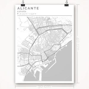 Mapa con estilo Clean de Alicante - 30 x 40