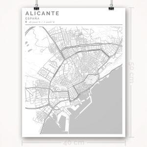 Mapa con estilo Clean de Alicante - 40 x 50