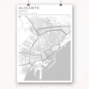 Mapa con estilo Clean de Alicante - 50 x 70