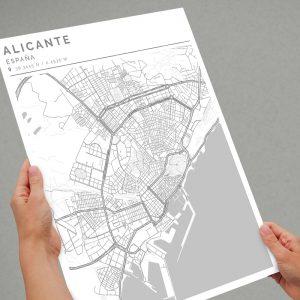 Mapa con estilo Clean de Alicante