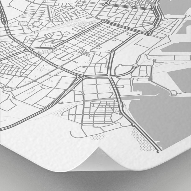 Detalle del mapa con estilo Clean de Alicante