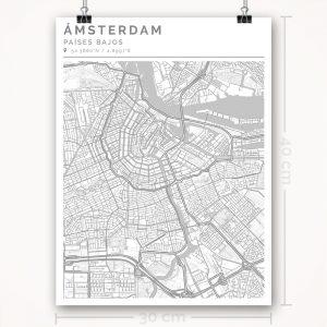Mapa con estilo Clean de Ámsterdam - 30 x 40