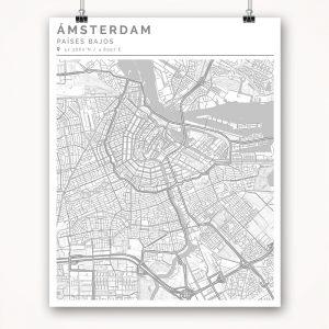 Mapa con estilo Clean de Ámsterdam - 40 x 50