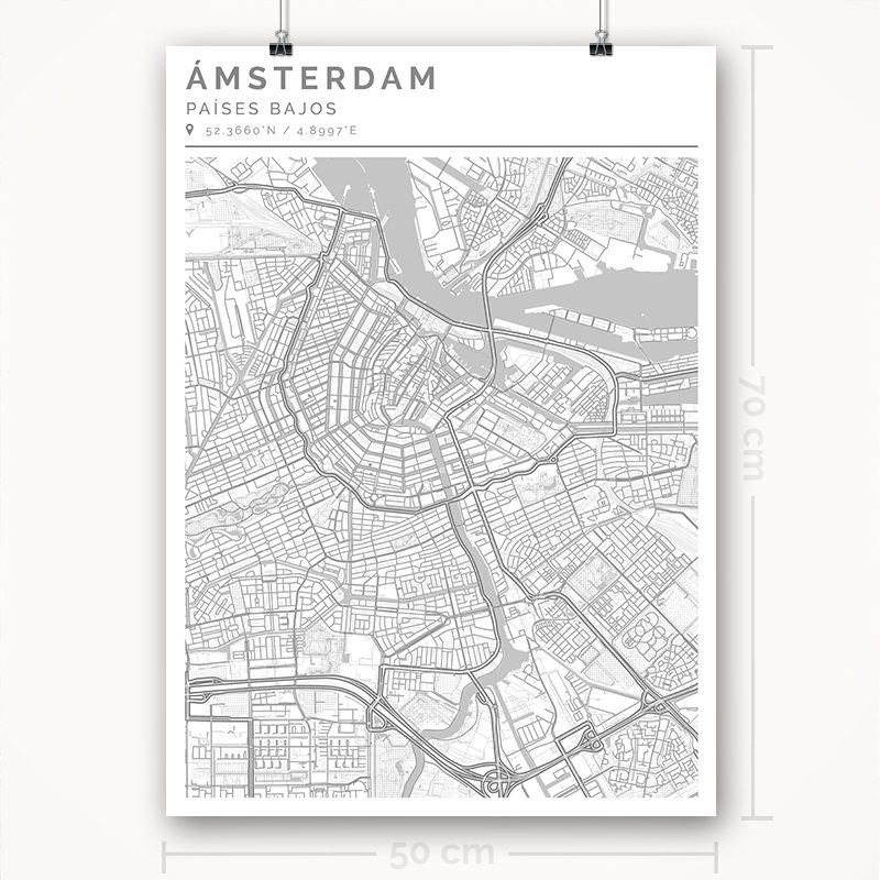 Mapa con estilo Clean de Ámsterdam - 50 x 70