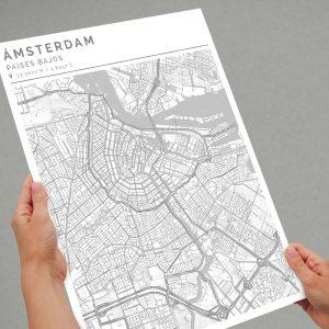 Mapa con estilo Clean de Ámsterdam