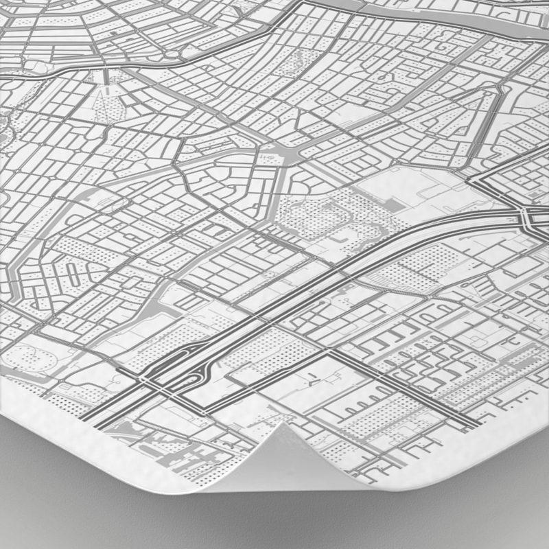 Detalle del mapa con estilo Clean de Ámsterdam
