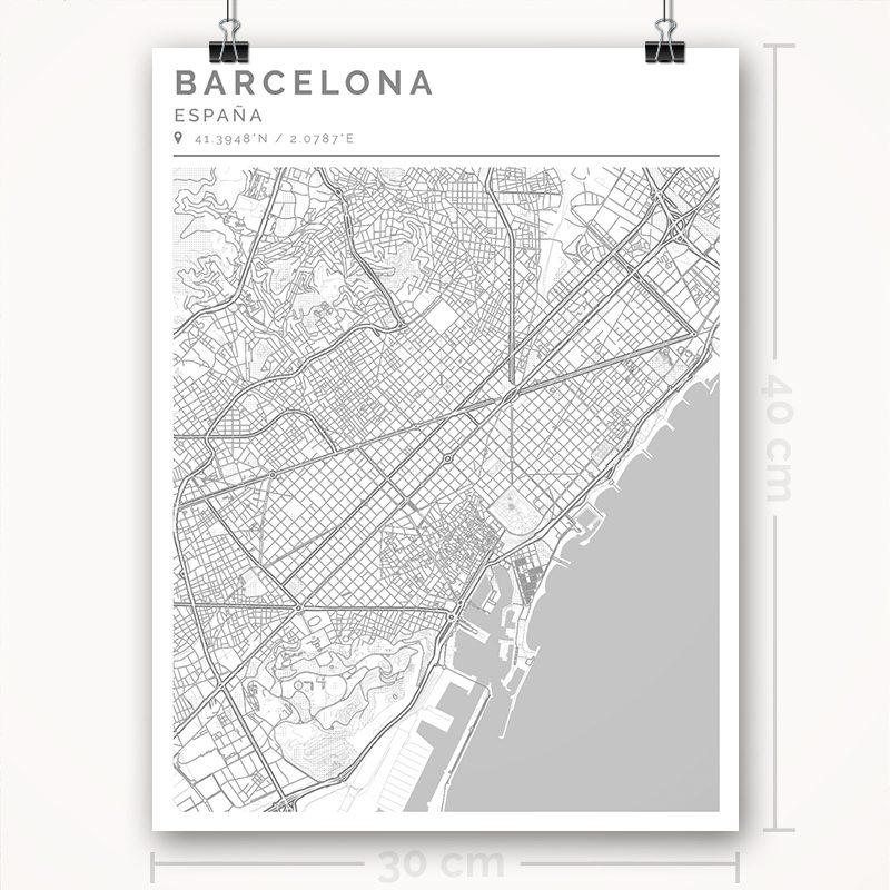 Mapa con estilo Clean de Barcelona - 30 x 40