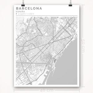 Mapa con estilo Clean de Barcelona - 40 x 50