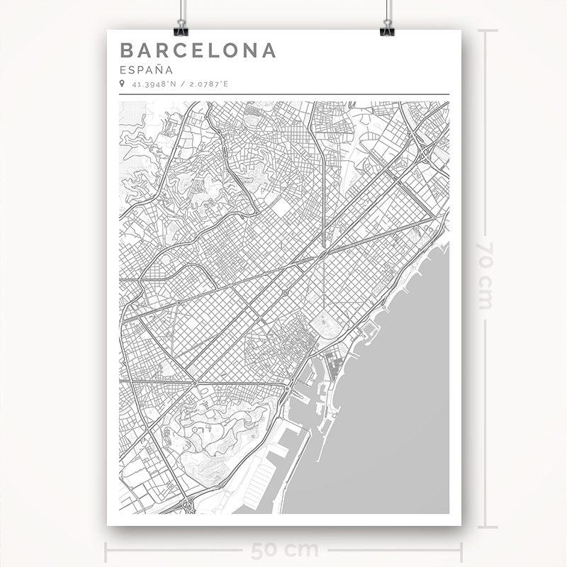 Mapa con estilo Clean de Barcelona - 50 x 70