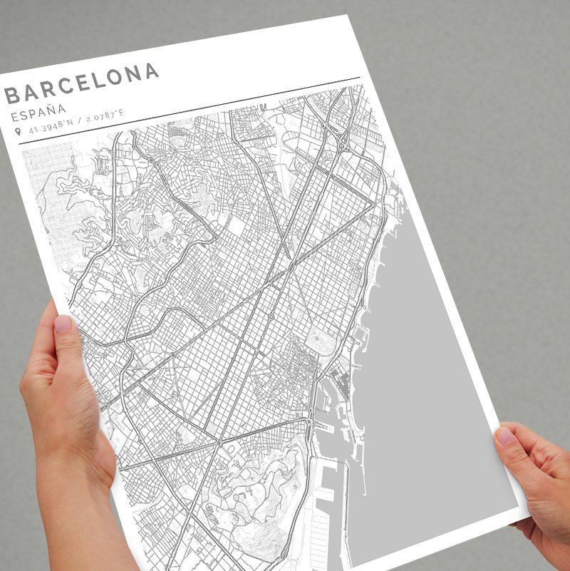 Mapa con estilo Clean de Barcelona
