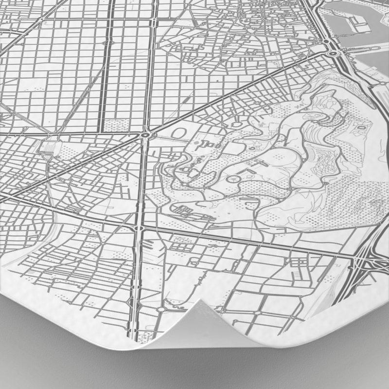 Detalle del mapa con estilo Clean de Barcelona