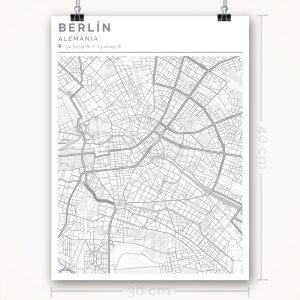 Mapa con estilo Clean de Berlín - 30 x 40