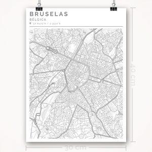 Mapa con estilo Clean de Bruselas - 30 x 40