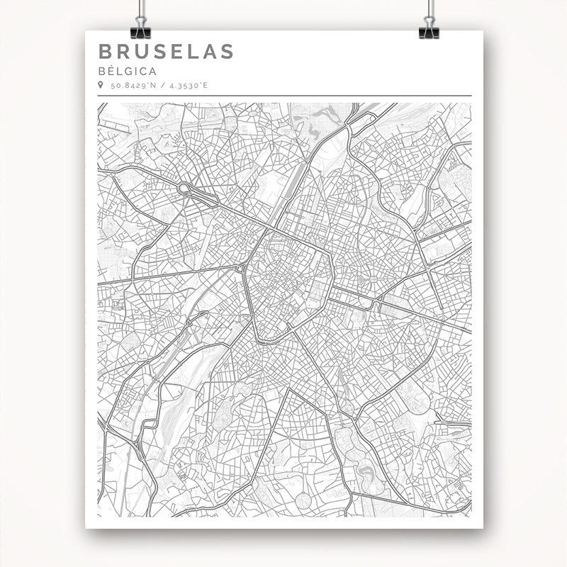 Mapa con estilo Clean de Bruselas - 40 x 50