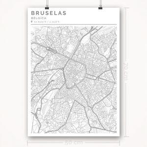 Mapa con estilo Clean de Bruselas - 50 x 70