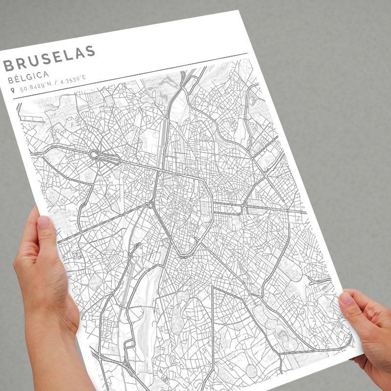 Mapa con estilo Clean de Bruselas