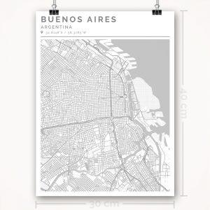 Mapa con estilo Clean de Buenos Aires - 30 x 40