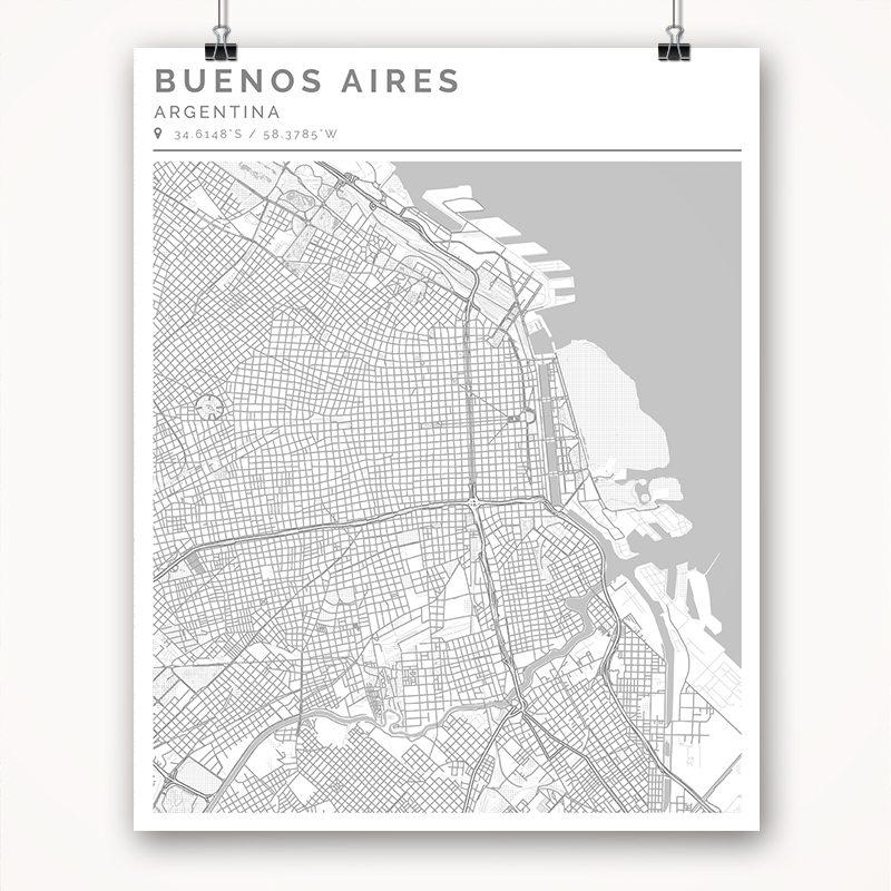 Mapa con estilo Clean de Buenos Aires - 40 x 50