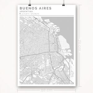 Mapa con estilo Clean de Buenos Aires - 50 x 70