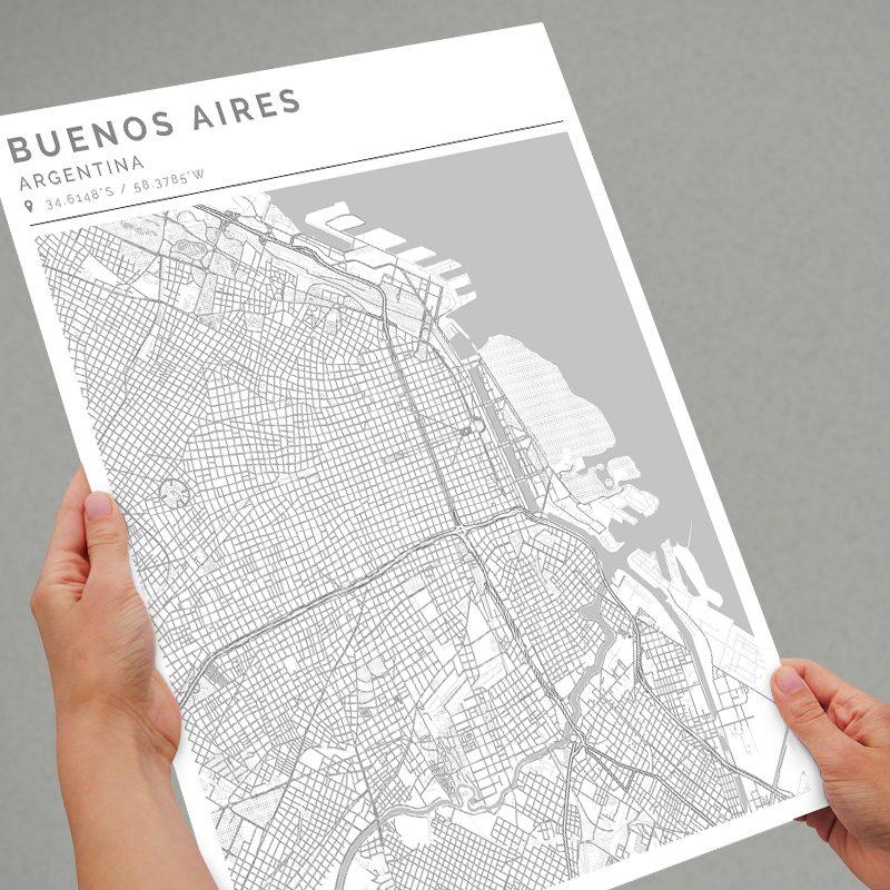 Mapa con estilo Clean de Buenos Aires