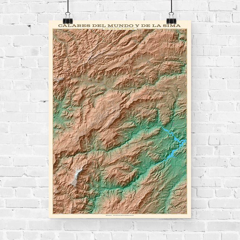 Mapa topográfico de los Calares del Mundo y la Sima