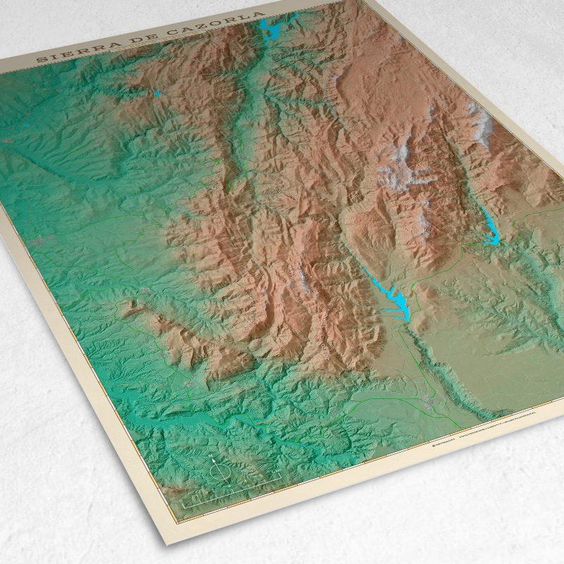 Detalle del mapa de la Sierra de Cazorla