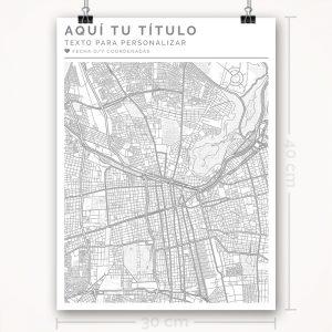 Mapa para personalizar con estilo Clean 30 x 40