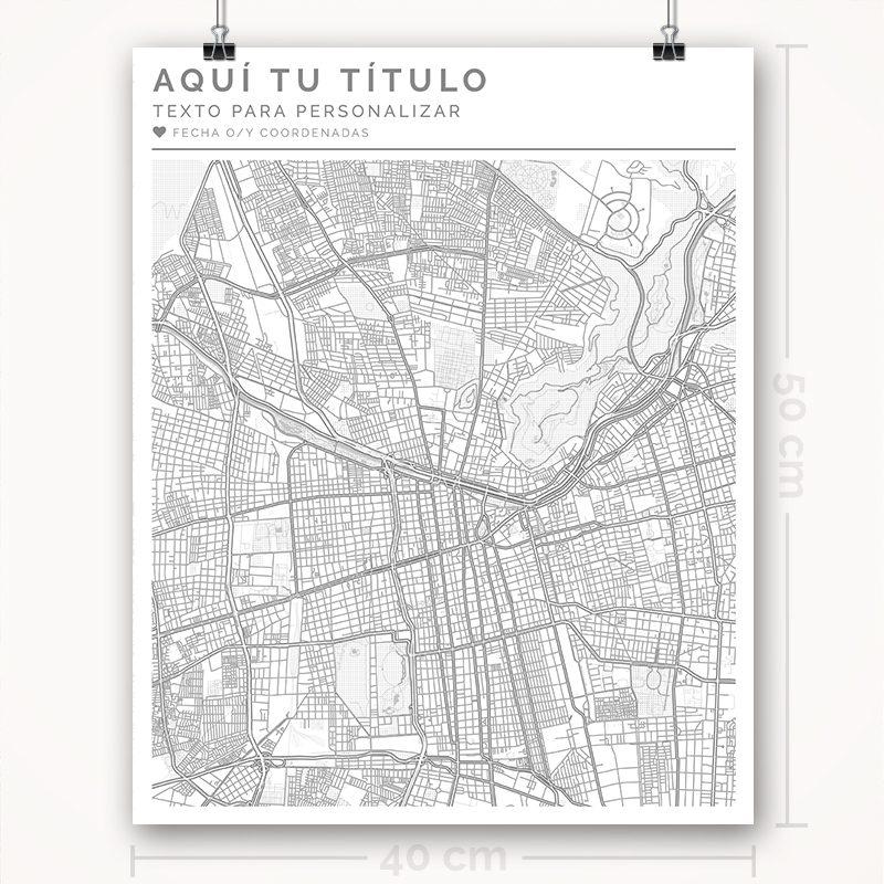 Mapa para personalizar con estilo Clean 40 x 50