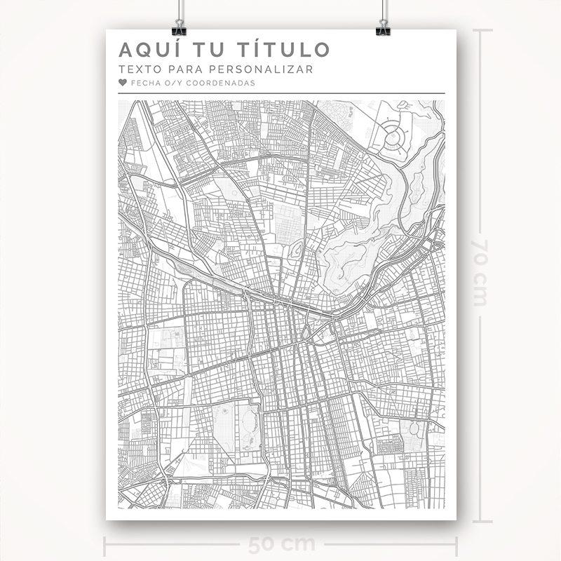 Mapa para personalizar con estilo Clean 50 x 70