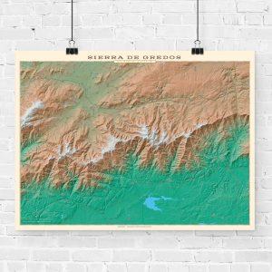 Mapa topográfico de la Sierra de Gredos