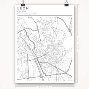 Mapa con estilo Clean de León - 30 x 40