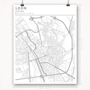 Mapa con estilo Clean de León - 40 x 50