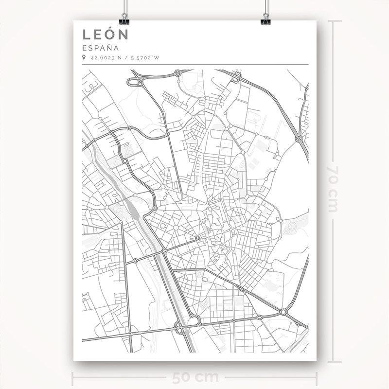 Mapa con estilo Clean de León - 50 x 70
