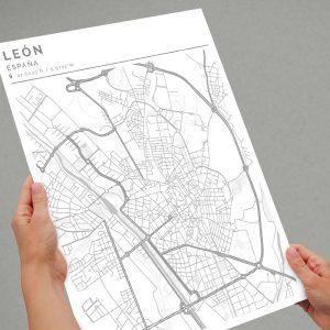 Mapa con estilo Clean de León