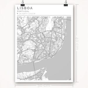 Mapa con estilo Clean de Lisboa - 30 x 40