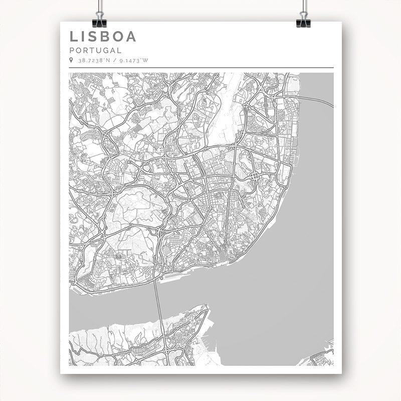 Mapa con estilo Clean de Lisboa - 40 x 50