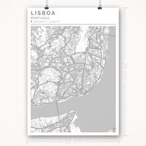 Mapa con estilo Clean de Lisboa - 50 x 70