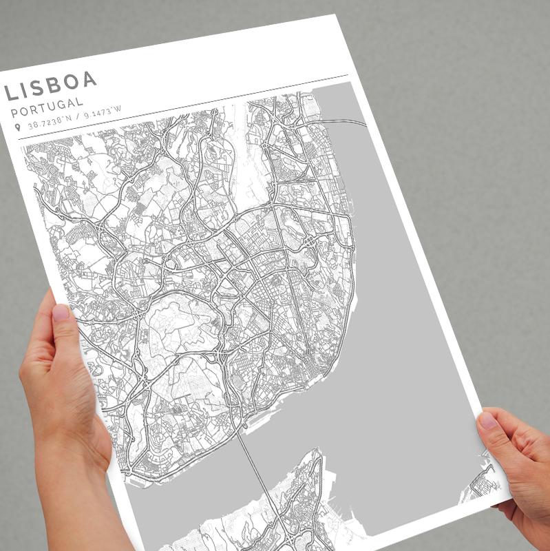 Mapa con estilo Clean de Lisboa