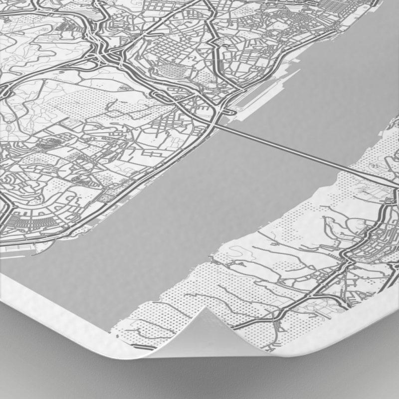 Detalle del mapa con estilo Clean de Lisboa