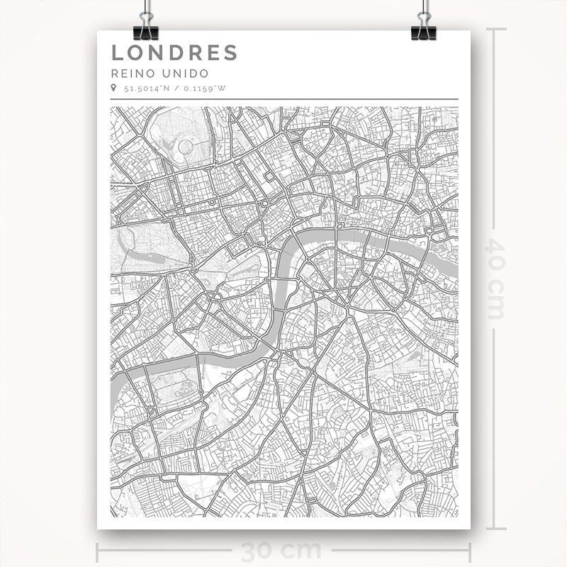 Mapa con estilo Clean de Londres - 30 x 40