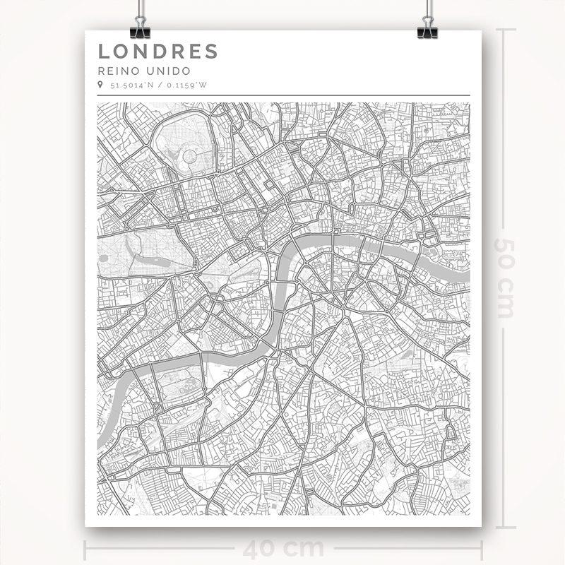 Mapa con estilo Clean de Londres - 40 x 50