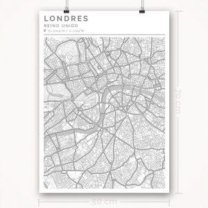 Mapa con estilo Clean de Londres - 50 x 70