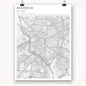 Mapa con estilo Clean de Madrid - 30 x 40