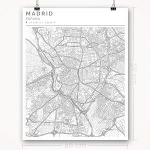 Mapa con estilo Clean de Madrid - 40 x 50