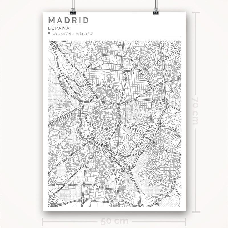 Mapa con estilo Clean de Madrid - 50 x 70