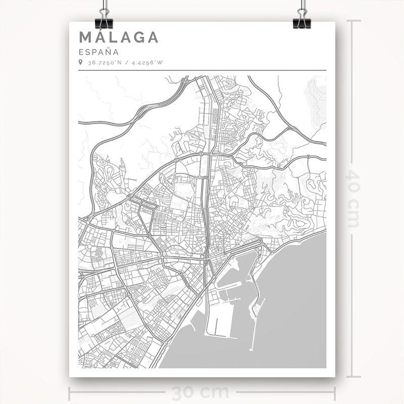 Mapa con estilo Clean de Ciudad de Málaga - 30 x 40