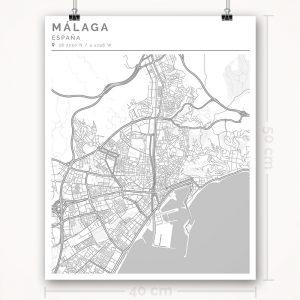 Mapa con estilo Clean de Ciudad de Málaga - 40 x 50