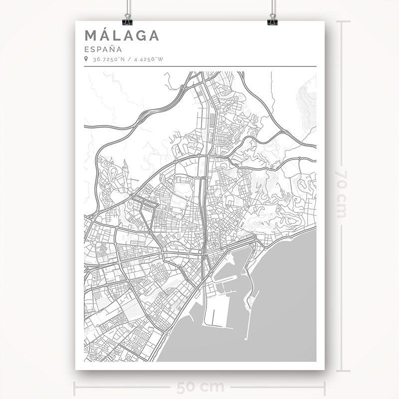 Mapa con estilo Clean de Ciudad de Málaga - 50 x 70