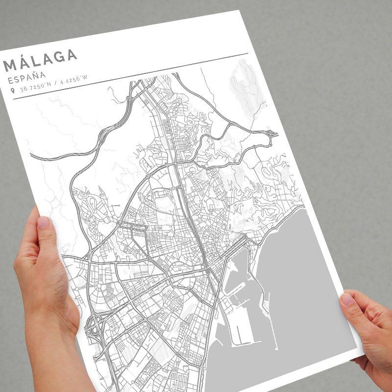 Mapa con estilo Clean de Ciudad de Málaga