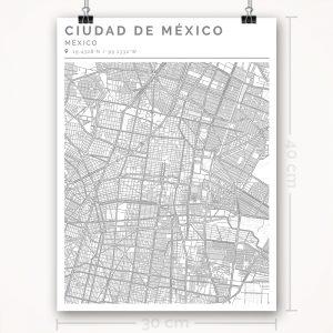 Mapa con estilo Clean de Ciudad de México - 30 x 40